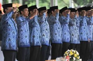 Presiden Jokowi menghadiri Upacara Peringatan HUT Korpri ke-46, di Silang Monas, Jakarta, Rabu (29/11) pagi. (Foto: Rahmat/Humas)