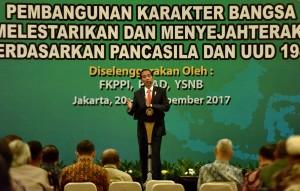 Presiden Jokowi memberikan sambutan dalam acara Pembukaan Simposium Nasional Kebudayaan Tahun 2017 di Ballroom Raflesia Gedung Balai Kartini, Jakarta Selatan, Senin (20/11). (Foto: Humas/Agung)