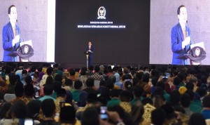 Presiden saat menyampaikan arahan di acara DPD, Jumat (17/11)