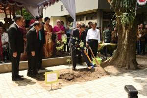 Presiden Jokowi saat melakukan penanaman pohon di Yogyakarta, Selasa (19/12). (Foto: Humas/FID).