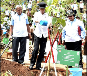 President Jokowi attends the 2017 Tree Planting Day and the 2017 National Planting Month in Karangasem Village, Ponjong District, Gunungkidul Regency, Yogyakarta, Saturday, (9/12). (Photo: BPMI).