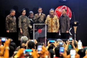 Presiden menyampaikan sambutan dalam acara Penutupan Perdagangan BEI di Gedung Bursa Efek Jakarta, 29 Desember 2017