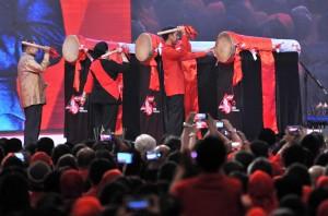 Presiden Jokowi acara Peringatan Hari Ulang Tahun ke-45 PDI-Perjuangan di Jakarta Convention Center, Jakarta, Rabu (10/1) siang. (Foto: Humas/Jay)