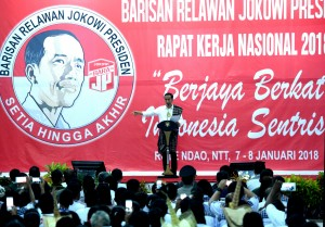 President Jokowi delivers his remarks at the National Coordination Meeting (Rakornas) Bara JP 2018, in Pulau Rote, East Nusa Tenggara, Monday (8/1) sore. (Photo by: Rahmat/Public Relations Division)