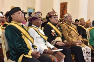 Suasana  penerimaan audiensi Raja dan Sultan se-Indonesia di Istana Kepresidenan Bogor, Kamis, 4 Januari 2018.