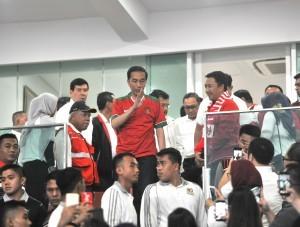 President Jokowi at the inauguration of revamped Gelora Bung Karno Main Stadium (SUGBK) at Senayan, Jakarta, Sunday (14/1) (Photo: PR/Deni)