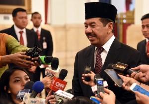 Kepala Badan Sandi dan Siber Djoko Setiono menajwab pertanyaan wartawan usai dilantik di Istana Negara, Jakarta, 3 Januari 2018.