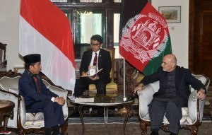 President Jokowi in a bilateral meeting with President of Afghanistan at the Agr Presidential Palace, Kabul, Afghanistan, Monday (29/1) afternoon, local time. (Photo: Humas/Anggun)