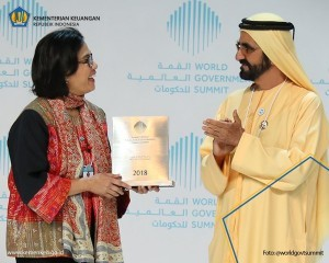 Minister Sri Mulyani receives the Best Minister Award during World Government Summit held in Dubai, United Arab Emirates (Photo: Ministry of Finance)