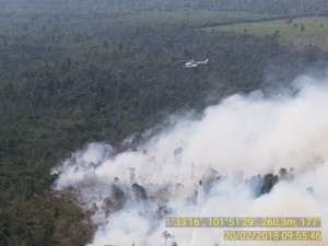 Monitoring of forest from above, Tuesday (20/2). (Photo by: BNPB)