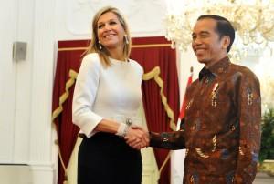 Presiden Jokowi bertemu dengan Ratu Maxima dari Belanda, di Istana Merdeka, Jakarta, pada Selasa (13/2). (Foto: Humas/Rahmat).