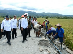 Presiden Jokowi meninjau program padat karya tunai, di Kab. Seram Barat, Maluku, Rabu (14/2) siang. (Foto: BPMI Setpres)