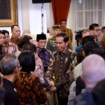 President Jokowi welcomes national bank leaders at Merdeka Palace, Thursday (15/3). (Photo by: OJI/Public Relations of Cabinet Secretariat)