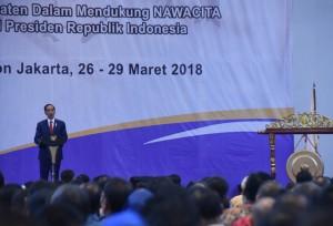 Presiden Jokowi saat membuka acara Rakernas II Asosiasi Dewan Perwakilan Rakyat Daerah Kabupaten Seluruh Indonesia di Hotel Grand Paragon, Jakarta, Selasa (26/3). (Foto: Humas/Nia)
