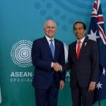 Presiden Jokowi dan PM Turnbull mengadakan pertemuan bilateral di sela-sela Konferensi Tingkat Tinggi ASEAN-Australia Special Summit 2018, di International Convention Centre, Sydney, Sabtu (17/3). (Foto: BPMI)