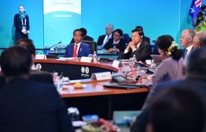 Presiden Jokowi saat menghadiri Sidang Pleno KTT Istimewa ASEAN-Australia di International Convention Centre, Sydney, Minggu (18/3). (Foto: BPMI)