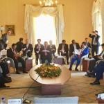 Presiden Jokowi saat menghadiri Pertemuan Retreat KTT Istimewa ASEAN-Australia, di Admiralty House, Kirribilli, Minggu (18/3). (Foto: BPMI).