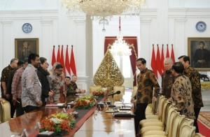 President Jokowi receives the US-ASEAN Business Council Delegation, at the Presidential Palace, Jakarta, Tuesday (13/3). (Photo by: Jay/ Public Relations Division)