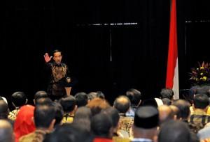 Presiden Jokowi saat memberikan arahan pada Raker Pemerintah, di di Hall B3, JIExpo Kemayoran, Jakarta, Rabu (28/3) siang. (Foto: Agung/Humas)