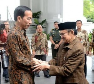 President Jokowi meets the third President of Indonesia B.J. Habibie some time ago