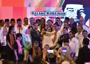 Presiden Jokowi saat menghadiri Konvensi Nasional Galang Kemajuan Tahun 2018 di Ballroom Puri Begawan, Bogor, Jawa Barat, Sabtu (7/4). (Foto: Humas/Anggun).