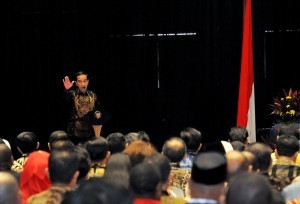 President Jokowi gave instruction in Government Working Meeting, at Hall B3, JIExpo Kemayoran, Jakarta, Wednesday (28/3). (Photo: Agung/PR)