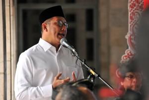 Menteri Agama Lukman Hakim Saifuddin saat memberikan sambutan pada acara Silaturahmi Kebangsaan, di Masjid Istiqlal, Jakarta, Rabu (16/5) pagi. (Foto: Jay/Humas)