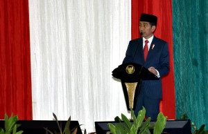 President Jokowi attends a ceremony at Pondok Gede, Monday (14/5). (Photo by: Cabinet Secretariat).