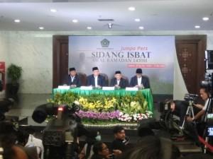 Menteri Agama Lukman Hakim Saifuddin mengumumkan hasil Sidang Itsbat penentuan 1 Ramadhan 1439H, di Auditorium Kemenag, Jakarta, Mei lalu. (Foto: IST)