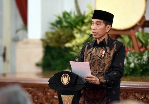 President Jokowi delivers his remarks during the National Commemoration of 1439 H / 2018 A.D Nuzulul Quran at the State Palace, Jakarta, Monday (4/6). (Photo by: Jay/ Public Relations Division of Cabinet Secretariat).