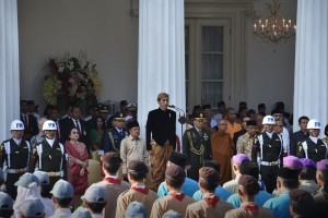 President Jokowi leads the Pancasila Day Ceremony at the Pancasila Building of the Ministry of Foreign Affairs, Jakarta, Friday (1/6) morning. (Photo by: Oji/Public Relations Division)