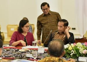 Presiden Jokowi didampingi Seskab Pramono Anung terlibat diskusi sebelum rapat terbatas, di Istana Kepresidenan Bogor, Jabar, Senin (9/7) sore. (Foto: Rahmat/Humas)