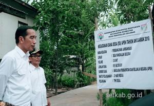 Presiden saat meninjau pelaksanaan padat karya di Banyuasin, Sumsel, Jumat (13/7). (Foto: Humas/Dindha Moerti)