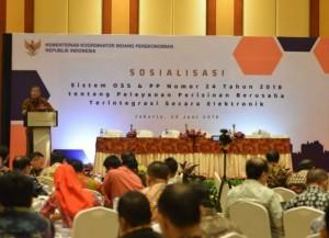 Menko Perekonomian Darmin Nasution saat acara Sosialisasi Peluncuran Sistem OSS, di Jakarta, Jumat (29/6) lalu. (Foto: Ekon)