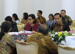 Finance Minister Sri Mulyani Indrawati during a Limited Meeting led by President Jokowi, at the Bogor Presidential Palace, Monday (9/7). (Photo by: Sri M's Private Collection)