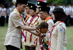 President Jokowi attends the 57th Scout Day Commemoration Ceremony, at Gajah Mada Square, Wiladatika Recreational Park, Cibubur, Jakarta, Tuesday (14/8). (Photo by: IST)