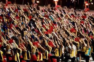 Ribuan penari dilibatkan dalam gladi resik pembukaan Asian Games XVIII, di Jakarta, beberapa waktu lalu. (Foto: IST)