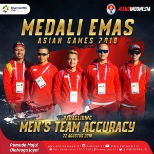 Paragliding team wins gold in men's accuracy at Gunung Mas, Puncak, Cianjur, West Java Province, on Wednesday (22/8)