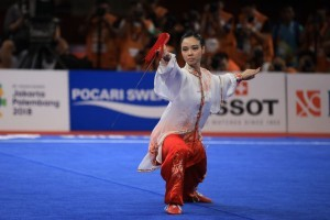 Wushu athlete Lindswell Kwok presents second gold for Indonesia at 2018 Asian Games (Photo: IST)