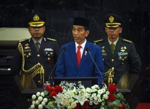 President Jokowi in his presentation on the Bill on State Budget 2019 Fiscal Year, at the House of Representatives of the Republic of Indonesia Plenary Meeting, Nusantara Building, Jakarta, Thursday (8/16). (Photo by: Agung/Public Relations).