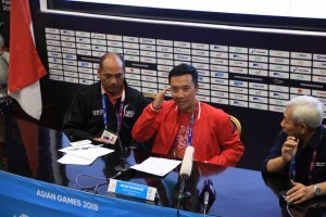 Minister of Youth and Sports Imam Nahrawi holds a press conference at JCC, Jakarta, Monday (27/8). (Photo by: Public Relations Division of Ministry of Youth and Sports).