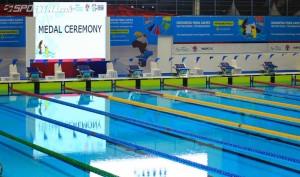 Stadion Aquatic di Gelora Bung Karno Jakarta, yang merupakan renovasi dari stadion lama dan kini dinilai sebagai salah satu contoh sarana olahraga terbaik yang dimiliki Indonesia, dan sudah memenuhi standar internasional. (Foto: IST)