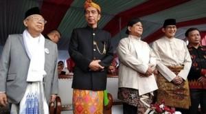 Pasangan Capres-Cawapres Joko Widodo-KH. Ma'ruf Amin dan Prabowo-Sandiaga Uni menghadiri Deklarasi Kampanye Damai Pemilu 2019, di kawasan Monas, Jakarta, Minggu (23/9) pagi. (Foto: IST)