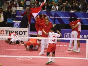 Sepak takraw men's quadrant won the 31st gold in the final round held at Ranau Hall, Jakabaring Sport City, Palembang, Saturday (1/9) (Photo: PR Division of Minister of Youth and Sports).
