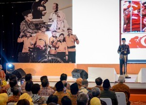 President Jokowi delivers his remarks at the opening of Indonesian Retirees Week at Balai Kartini, Jakarta, Tuesday (25/9). Photo by: Agung/ Public Relations Division of Cabinet Secretariat)