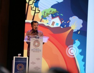 """Vice President Jusuf Kalla delivers his speech at High Level Dialogue on Disaster Risk Financing and Insurance"""" in the Bali International Convention Center, Nusa Dua, Bali, Wednesday (10/10). (Photo by: IST)."""