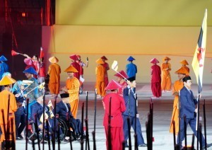 Artists perform in the Opening Ceremony of 2018 Asian Para Games, at GBK Stadium, Jakarta, Saturday (6/10). (Photo: Nia/PR)