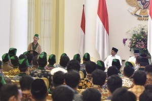 President Jokowi attends the opening of HMI Leadership Education and Training, at the Bogor Presidential Palace, West Java, Friday (5/10). (Photo by: Jay/Public Relations Divison)