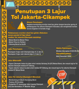 PT Jasa Marga menyatakan, informasi mengenai penutupan jalan tol Jakarta-Cikampek yang tersebar di media sosial seperti ini tidak update.