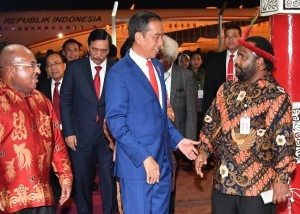 President Jokowi arrives at Mopah Airport, Merauke, on Friday (16/11). Photo by: BPMI.